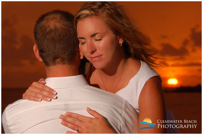 Clearwater Beach Wedding Photo of couple embracing
