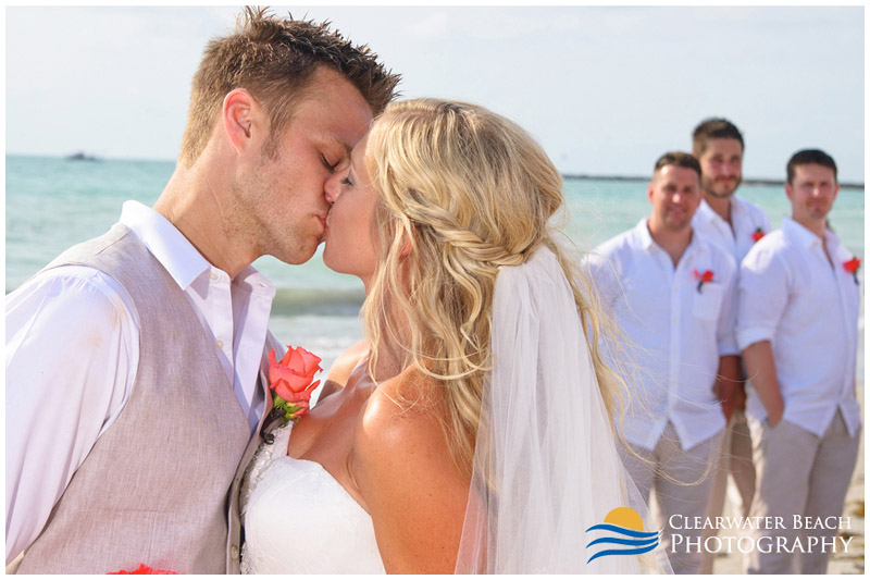 Clearwater Beach Wedding Portrait of Couple Kissing
