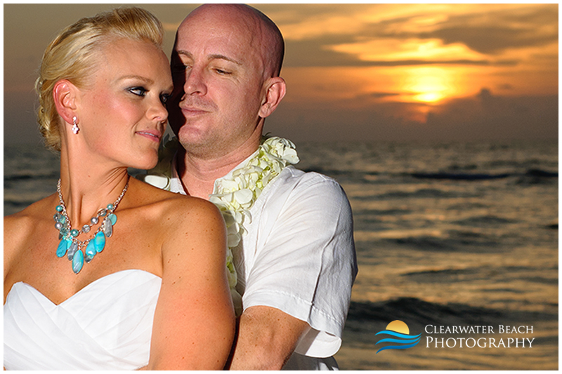 Clearwater Beach Wedding Photo of Couple by Sunset
