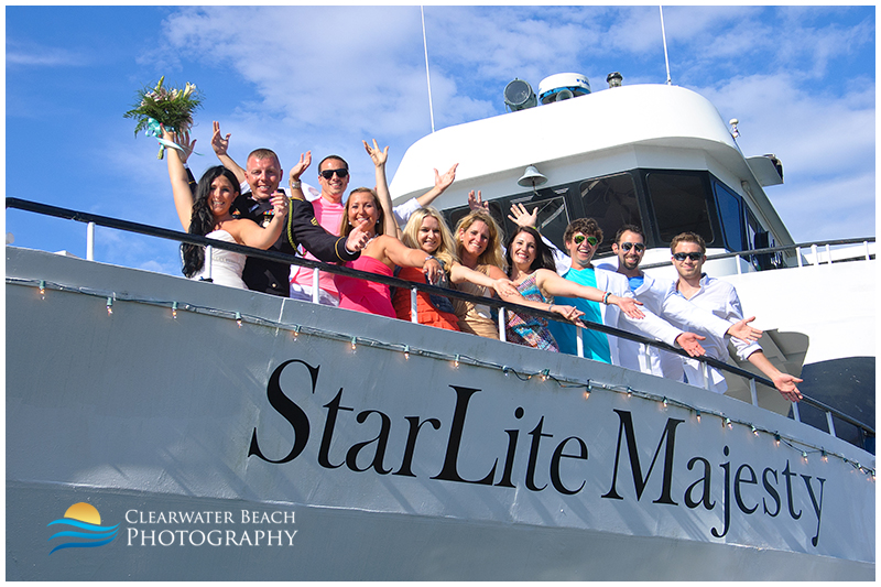 Clearwater Beach Wedding Photo of Guests on Boat