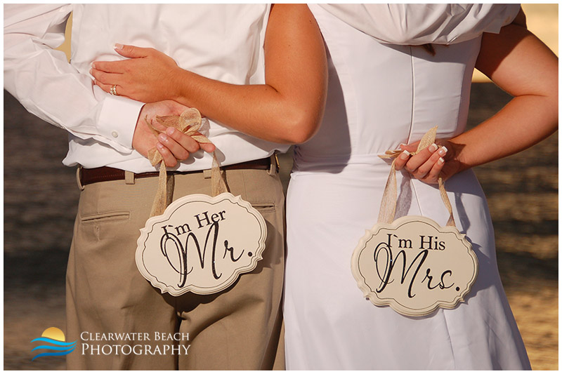 Clearwater Beach Wedding Photo of Mr. and Mrs. Sign